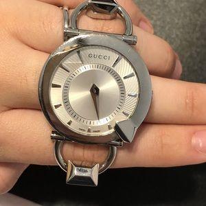 Silver Gucci watch
